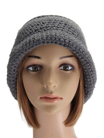 Slouch Baggy Woolen Yarn Crochet Knitted Beanie Hat Thick Woolen Thermal Ski Cap