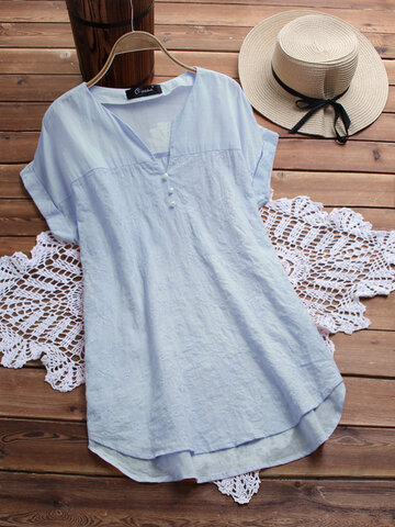 Embroidery V Neck Blouses