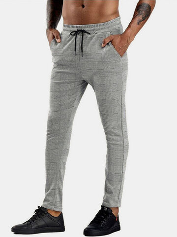 Glen Plaid Skinny Fit Pants