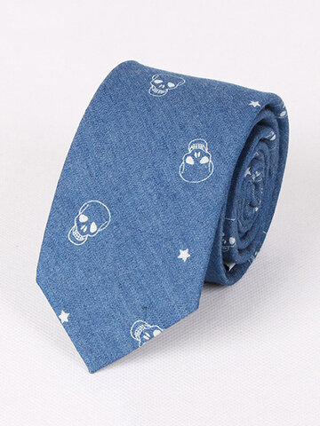 Cotton Denim Neckties For Men Groom Skull Fish Bone Pattern Narrow Neck Ties Party Necktie