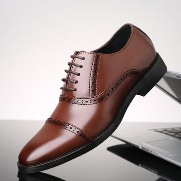 Men Brogue Cap Toe Dress Shoes Lace Up Oxfords