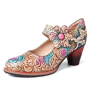 Retro Embossed Rose Splicing Floral Sequined Round Toe Mid Heel Pumps