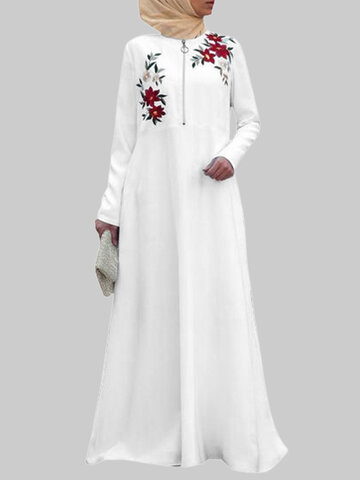 Floral Embroidery Maxi Muslim Dress