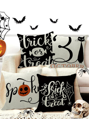 4 PCs Linen Witch Spider Series Halloween Cushion Cover Throw Pillow Cover Pillowcase