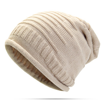 Women Knitted Woolen Stripe Beanie Cap