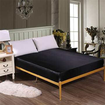 Solid Color Silk Like Super Soft Satin Bed Sheet Pillowcase Mattress Cover Bed Sheet Set Deep Pocket Fully Elastic Band Twin Full Queen King