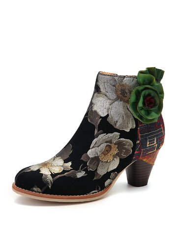Green Flower Leather Cozy Ankle Boots