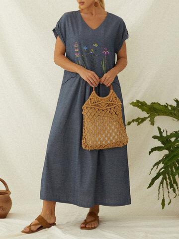 Casual Flowers Print Dress