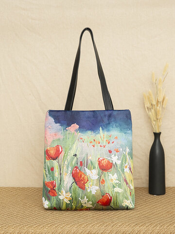 Floral Grass Pattern Tote