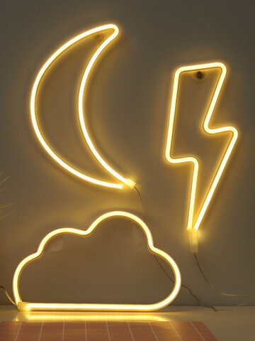 LED Cloud Star Moon Pattern Home Decor Table Hanging Wall Neon Lamb Photo Props Battery USB Night Light