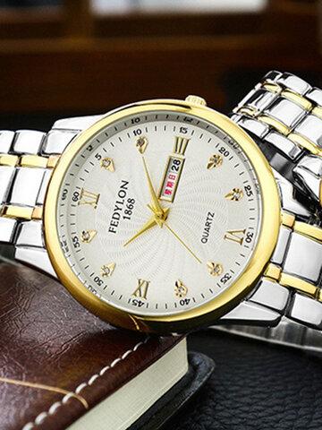 फैशन मिश्र धातु युगल क्वार्ट्ज घड़ी