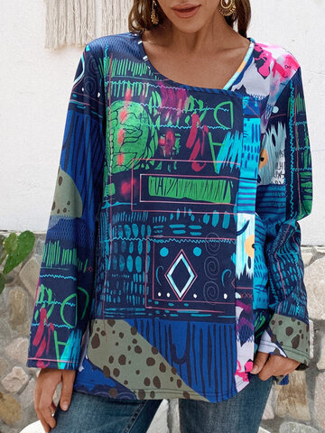 Vintage Abstract Print Wrap Blouse