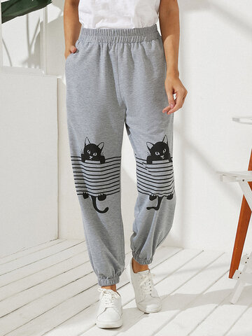 Black Cat Print Casual Pantaloni