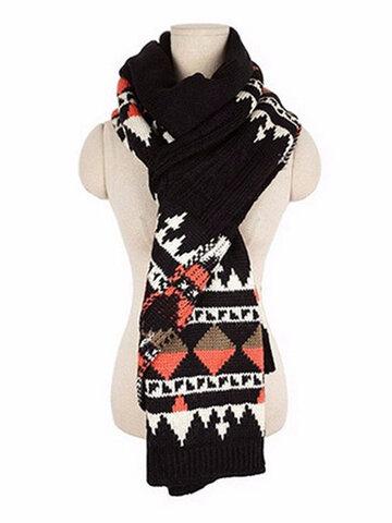 زوجين الشتاء الحرارية نمط هندسي وشاح الكروشيه محبوك شالات التفاف طويلة