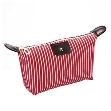 Portable Striped Makeup Bag