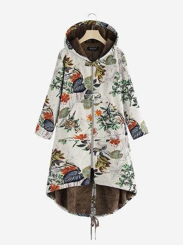 Cappotto vintage con stampa di foglie con coulisse