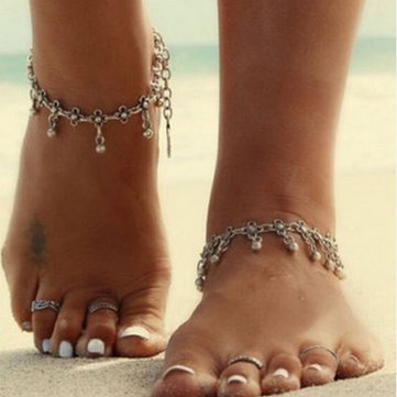 Retro Water Drop Tassel Anklets