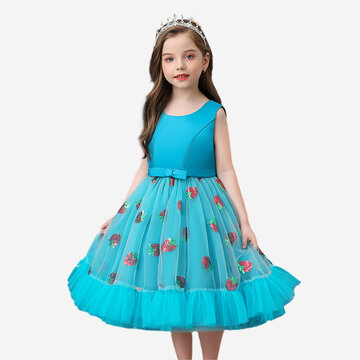 Girl's Strawberry Sequin Dress For 4-12Y