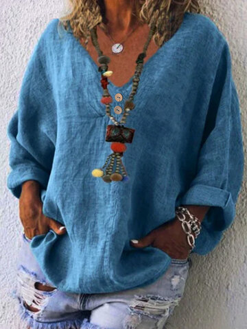 Casual V-neck Cotton Blouse