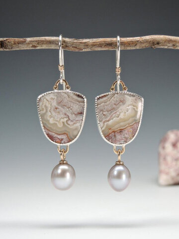 Lace Agate Pearl Earrings
