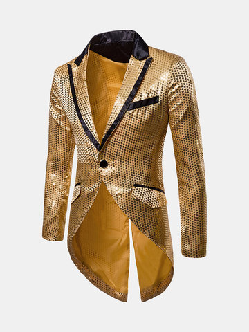 Sequins Design Stage Banquet Lapel Blazer