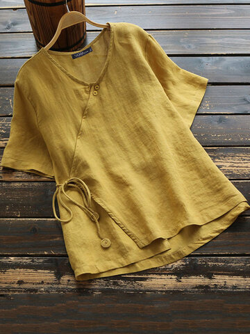 Solid Color Knot Button Blouse