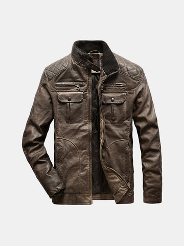 Mens Stand Collar PU Coats Leather Jackets