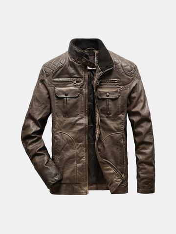 Мужские воротник стойка PU пальто кожаные куртки