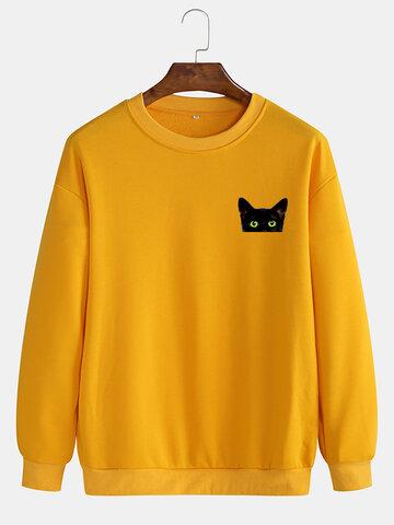Solid Color Casual Pullover Sweatshirts