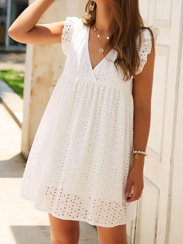 Solid Hollow Ruffle Lace Dress