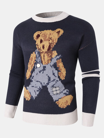Cartoon Bear Pattern Knit Sweaters