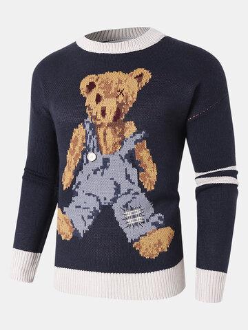 Cartoon Bear Pattern Knit Sweaters