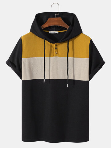 Knitted Panel Stitching Hoodie