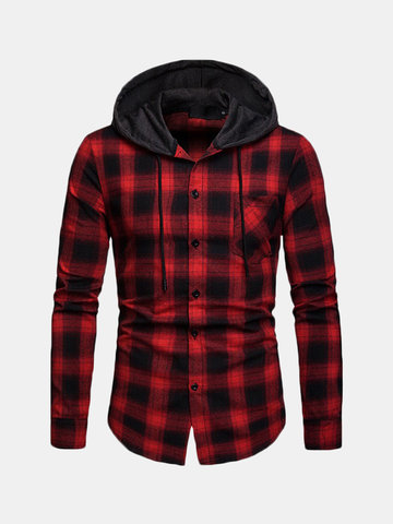 Plaid Long Sleeve Drawstring Hoodies, Black red blue