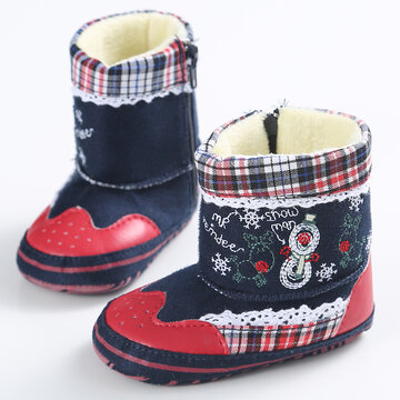 Baby Girls Christmas Embroidery Soft Cloth Warm Snow Boots Toddler Shoes