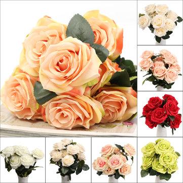 10 प्रमुख कृत्रिम रेशम फूल गुलाब शादी गुलदस्ता पार्टी घर की सजावट