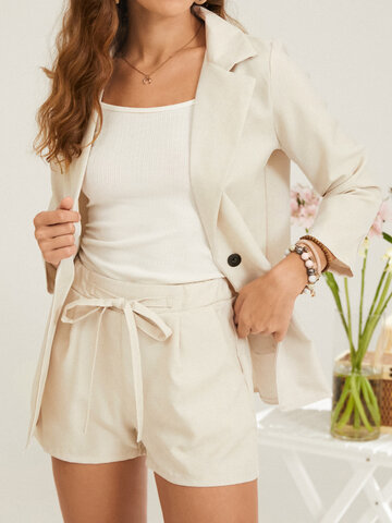 Solid Button Knotted Suit with Pocket