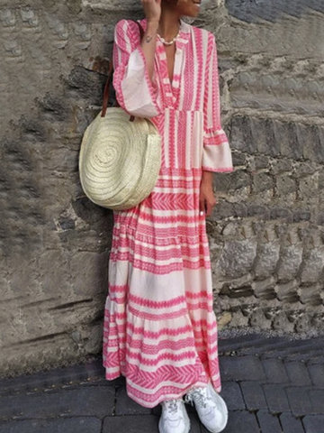Patchwork Stripe Imprimir Maxi Dress