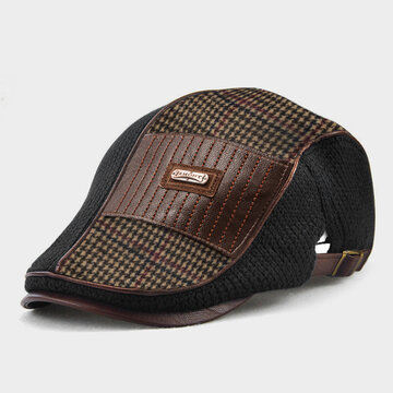 Men Knit Leather Patchwork Color Beret Hat