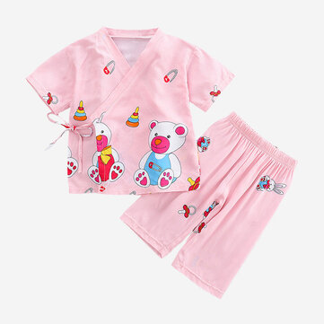 Girl's Cartoon Lace-up Pajama Set For 2-8Y