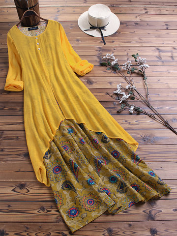 Vintage Flower Patchwork Maxi Dress
