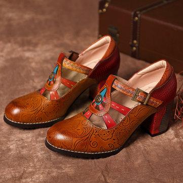 Zapatos de cuero con hebilla y correa vintage