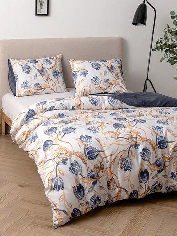 2/3 Pcs Floral Overlay Print Comfy Bedding Set Duvet Cover Pillowcase Twin King