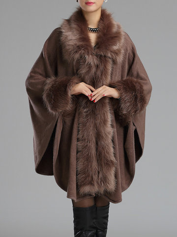 Faux Fur Collar Knitted Coats