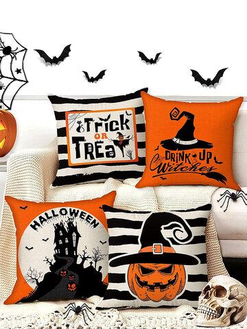 4 PCs Linen Pumpkin  Bat Pattern Halloween Cushion Cover Throw Pillow Cover Pillowcase