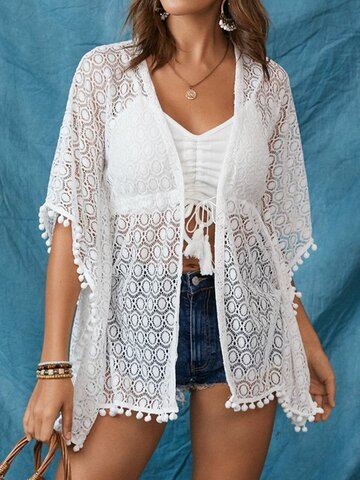 Lace Hollow Solid Knotted Kimono