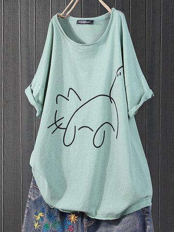 Imprimir gato Casual T-shirt