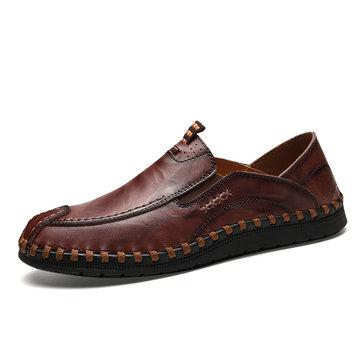 Zapatos de cuero del dedo del pie de la puntada de la mano de los hombres