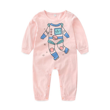 Cartoon Print Baby Romper For 0-24M