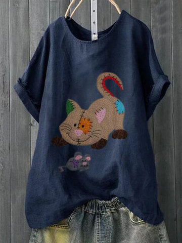 T-shirt Cartoon Cat Print